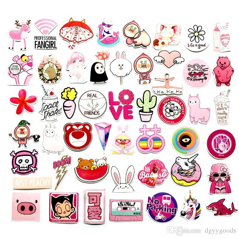 50 piezas de PVC impermeable VSCO niñas Kawaii rosa de la diversión pegatinas Juguetes Maletas Moto Adhesivos para coche Maleta moda fresca pegatinas