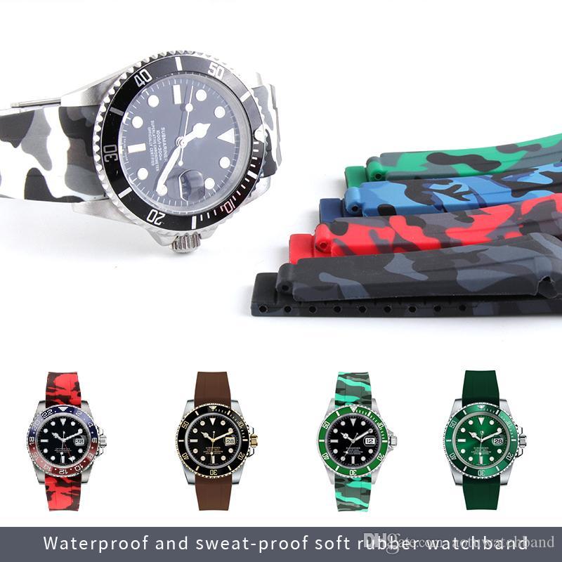 En caoutchouc de silicone bracelet boucle Replier en acier inoxydable Montre bracelet pour bande Oysterflex SUB Bracelet Montre Homme 20 mm Noir Rouge Bleu + OUTIL