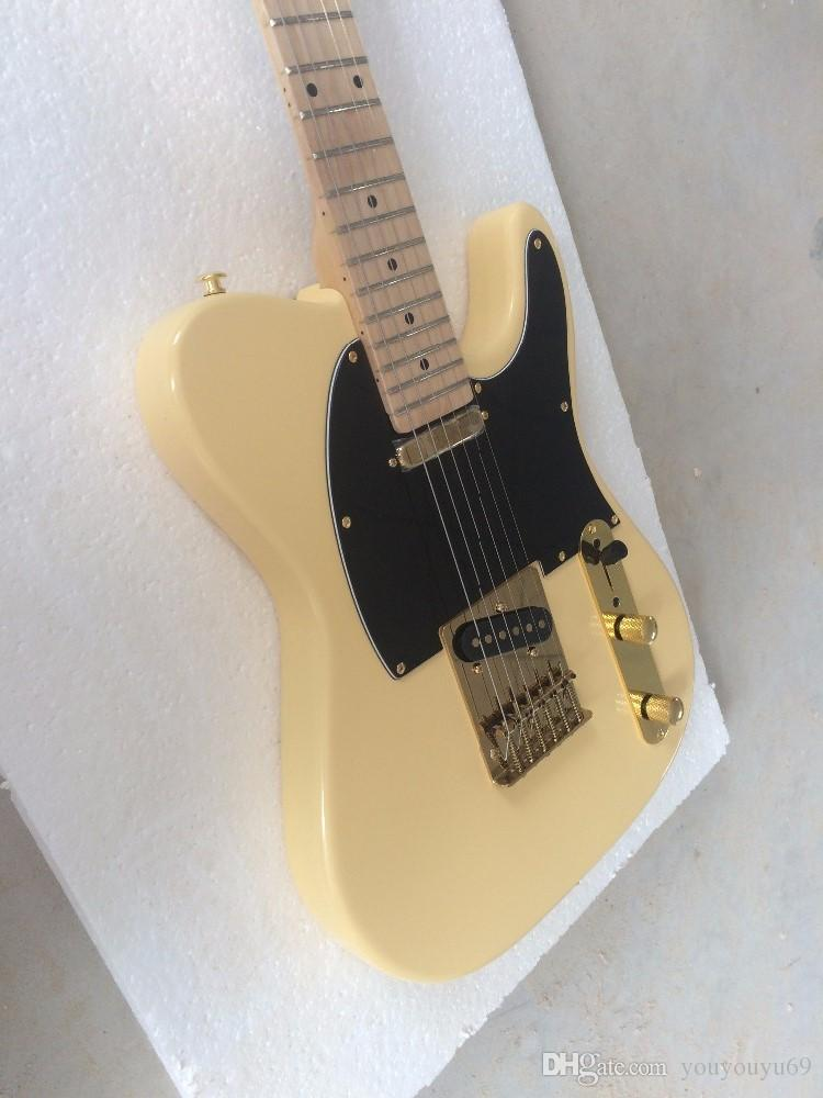 Milky White / Black Gitarrenbrett, hochwertige Gold-Hardware, exquisite hochwertige E-Gitarre, persönlicher Service