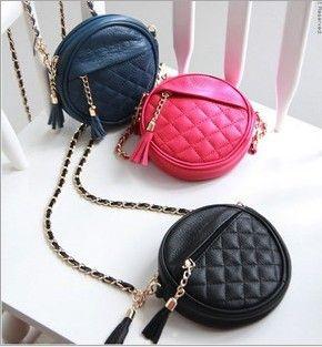 Hot Selling! Girls Ladies Mini Bag with Tassels Pendant Round Bag Fashion Leisure Quilting Bag Girls Casaul PU Handbags 8 Color KKA3987