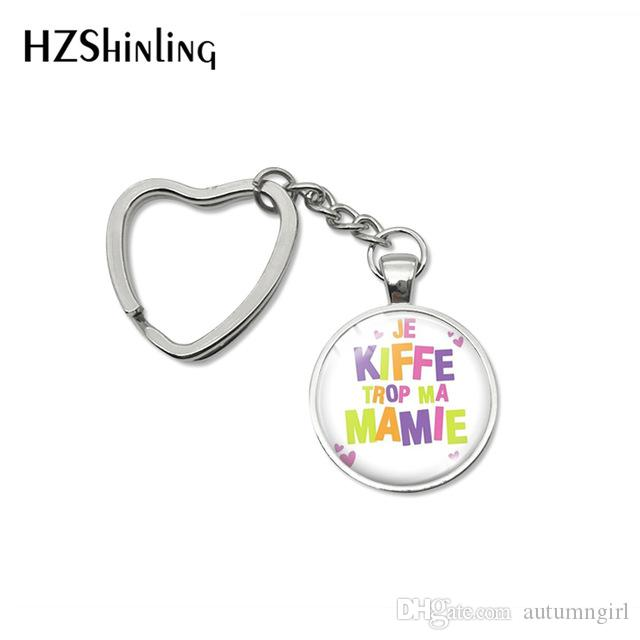 Fashion Super Mamie Quotes Heart Key Chains Holder Glass Dome Pendant je suis une Mamie Letter Design Keyring Keychanis Jewelry