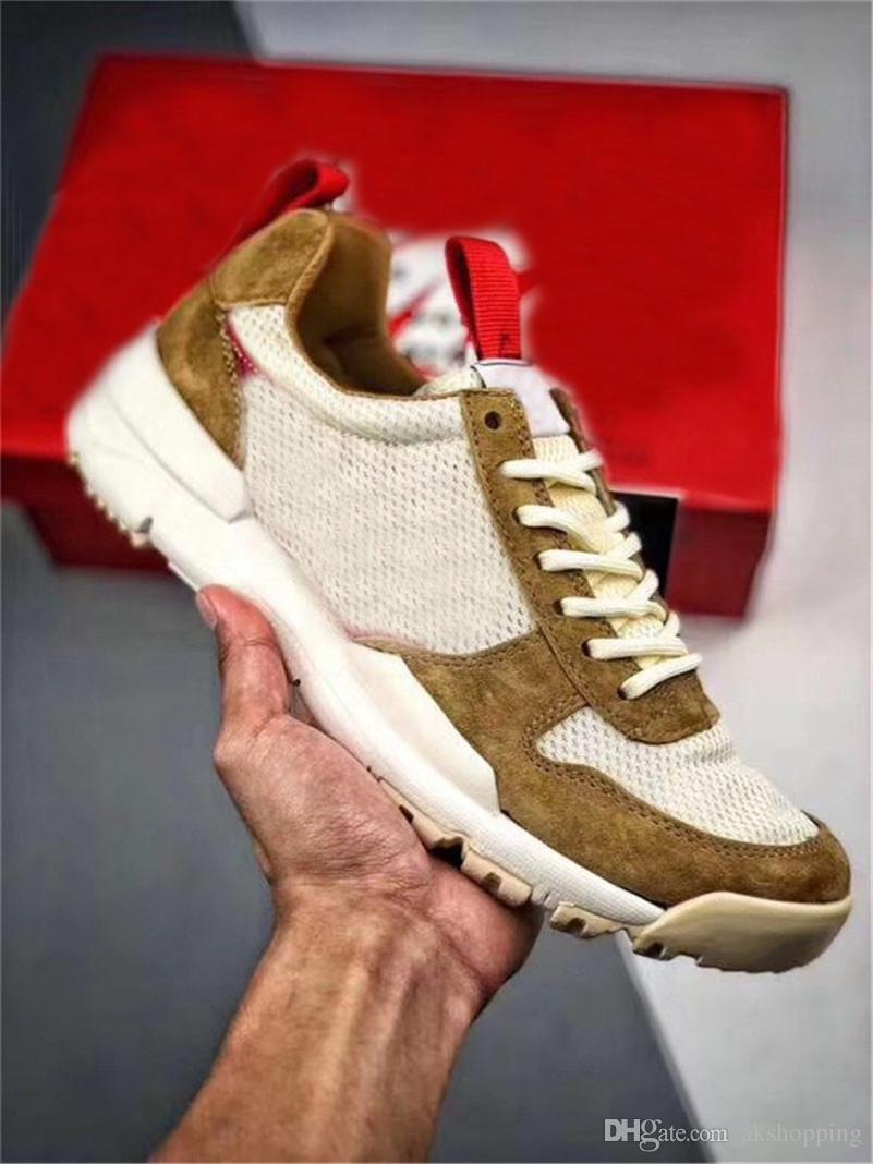 2019 Том Сакс х Craft Mars Yard 2,0 TS Совместное общество с ограниченной Sneaker Природный Спорт Красный клен Аутентичные кроссовки с оригинальной коробке