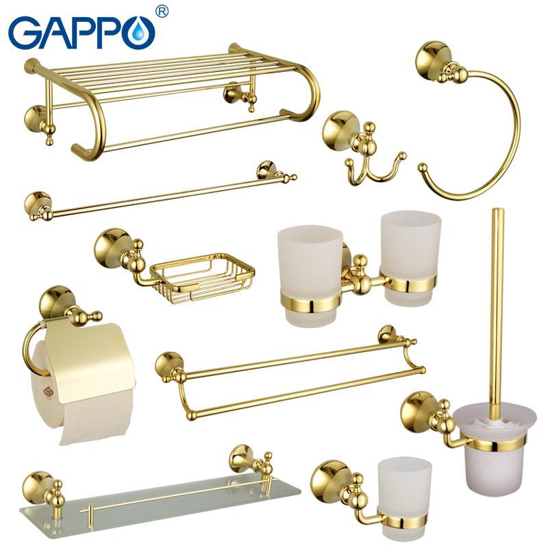 Gappo set da bagno hardware dorato porta asciugamani bar accessori bagno porta rotolo scopino portasapone cestino di lusso di carta T200425