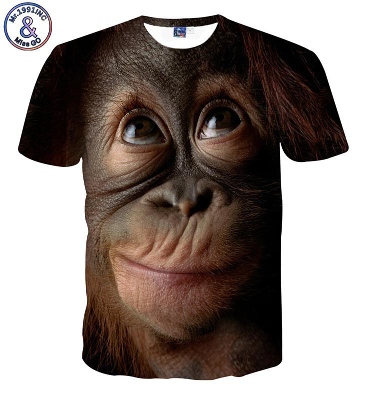 il progettista del mens 3 D tridimensionale T-shirt manica corta orangutan modello vestiti prestazioni animale divertente elastico Foto T-shirt