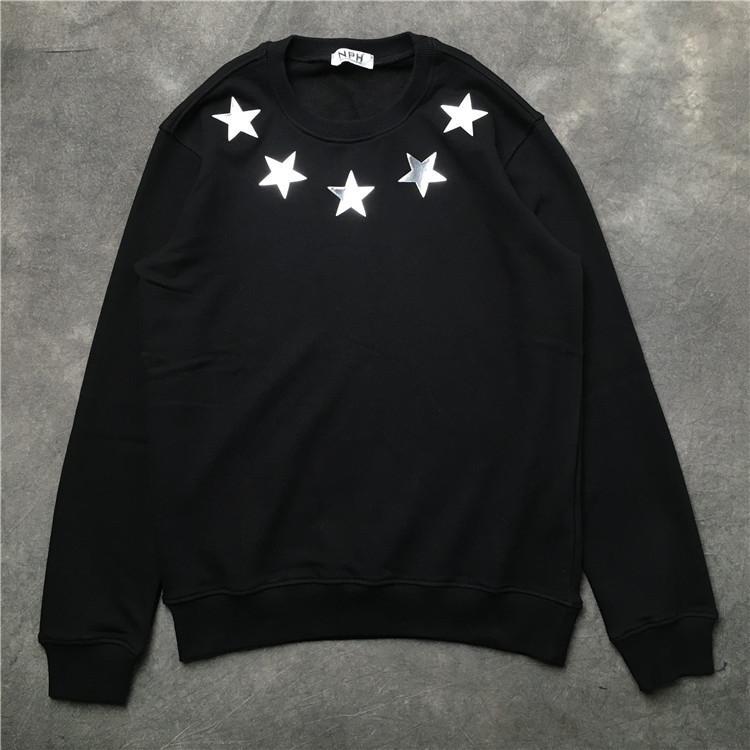 20ss 프랑스 이탈리아 최고 품질의 새로운 핫 패션 코트 스타일의 오각형 재료 인쇄면 남성 여성 남성 후드 스웨터를 반사