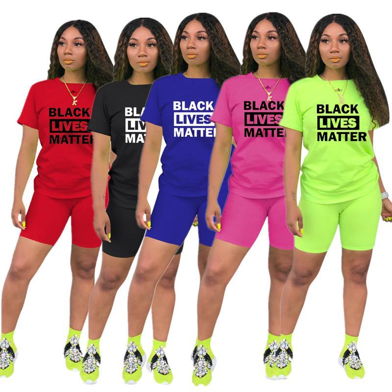 Женская мода Шорты Tracksuit Черный Lives Matter Печать Лето с коротким рукавом Футболка + Шорты 2 шт Комплект Нижнее Спортивная одежда 2020 Горячие
