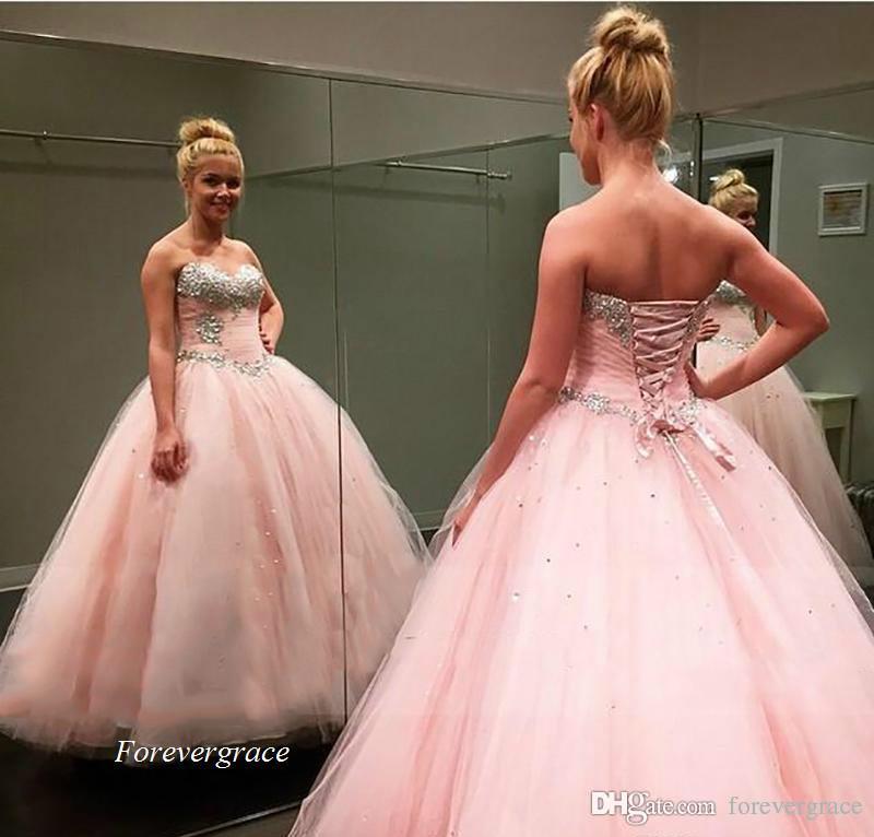 2019 adorable robe rose quinceanera robe princesse gonflée perlée de robe de ballure douce 16 ans long filles filles fête pageant robe plus taille personnalisée faite sur mesure