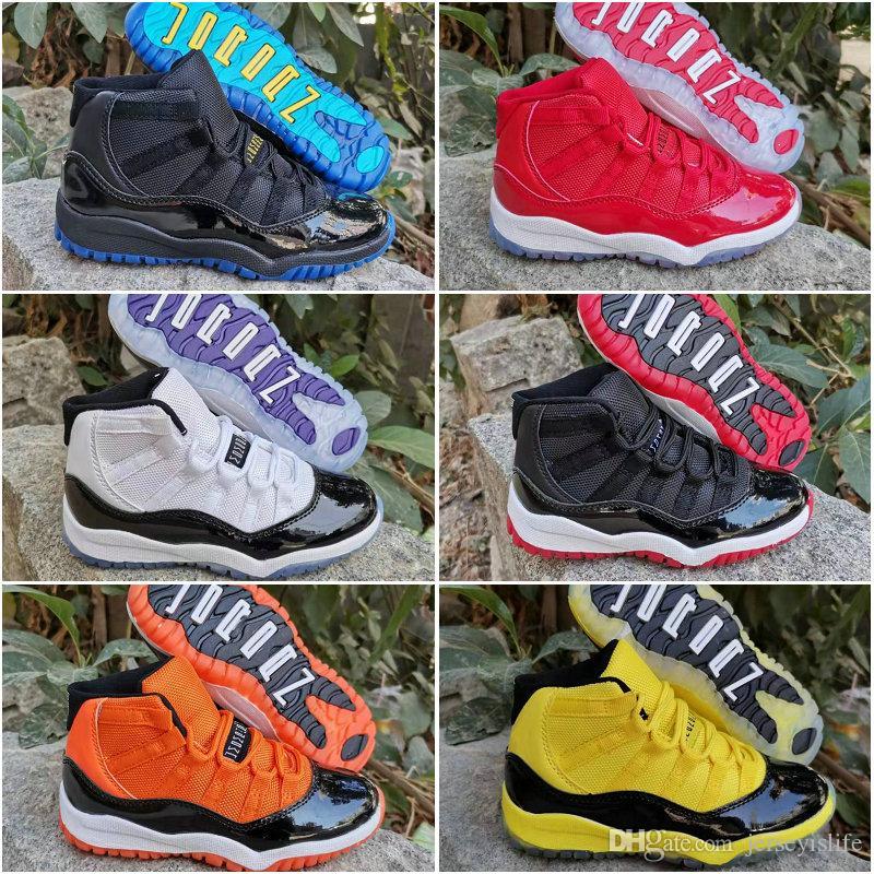 11 Space Jam разводили Concord тренажерный зал красный гамма синий Оранжевый Желтый Дети Дети Баскетбол обувь Jumpman 11s Молодежные Мальчики Девочки Спортивные кроссовки