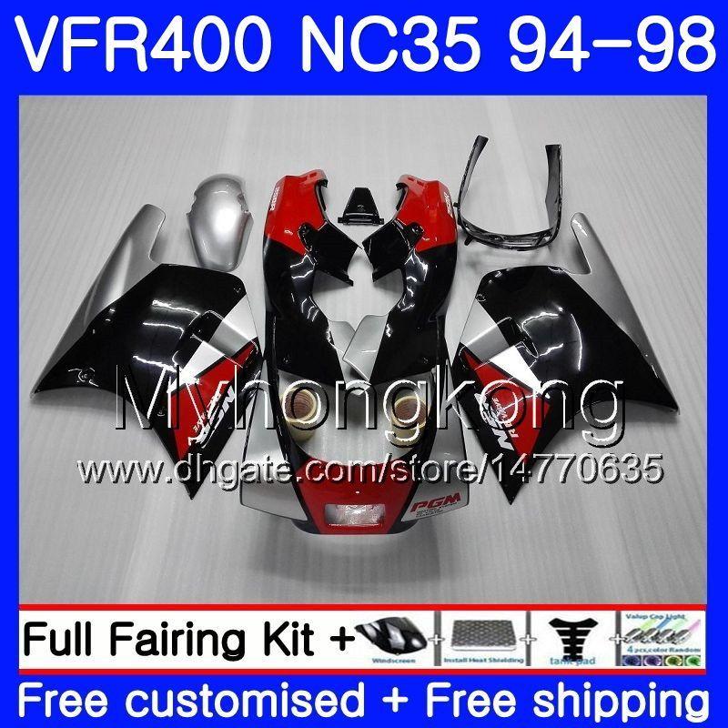 Zestaw do Honda RVF400R VFR400 NC35 V4 VFR400R 94 95 97 97 98 270HM.0 RVF VFR 400 R VFR 400R 19994 1995 1996 1997 1998 Owalnia Red Blk Srebrzysta