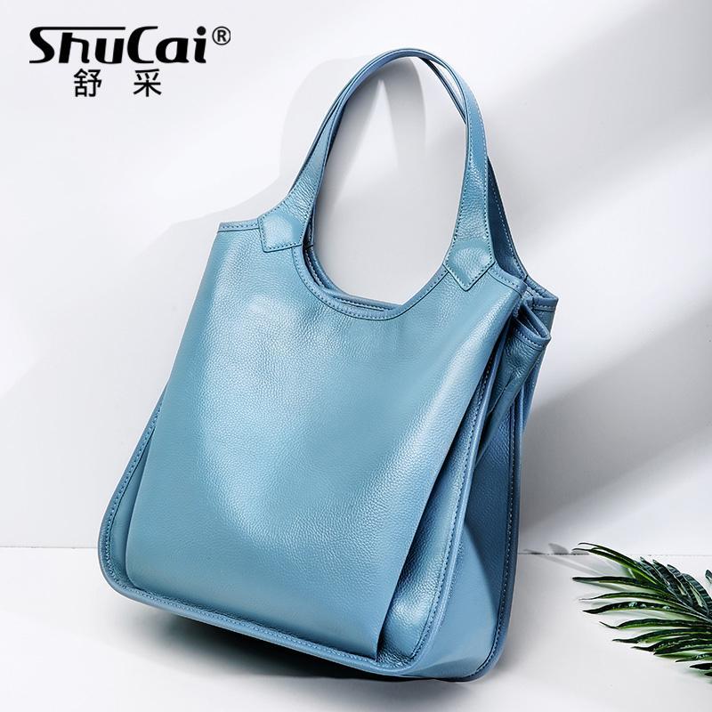Женщины Повседневная сумка Tote 100% натуральная кожа Мода леди плечо сумка большой емкости Большой мешок высокого качества офиса Сумки черный