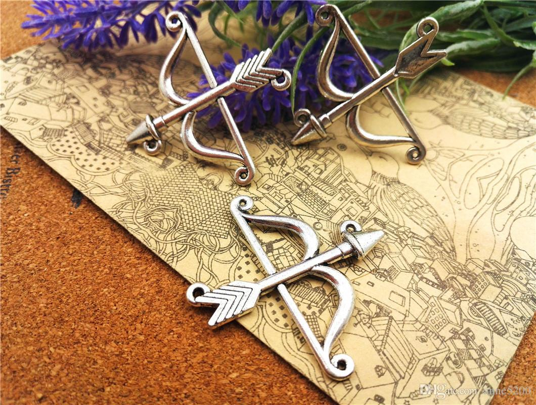 Silver Yellow Plated Bow And Arrow Charm 29mm