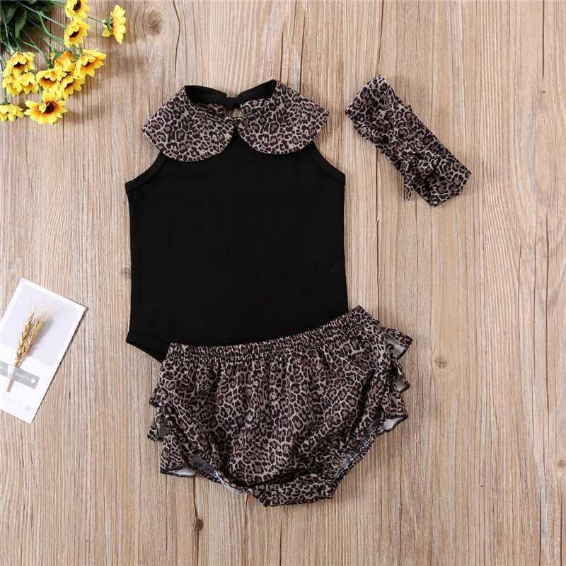 3pcs verano Equipos recién nacidos niño del bebé embroma tapas de la ropa del mameluco de la colmena Negro Leopard remiendo Outfit