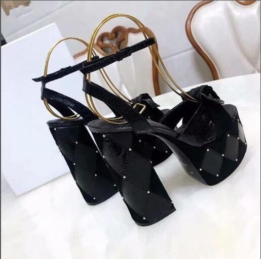 La venta caliente-5.5cm de alto Sexy de la plataforma T Muestra Zapatos 14cm talón del verano para las mujeres gladiadores de alta calidad