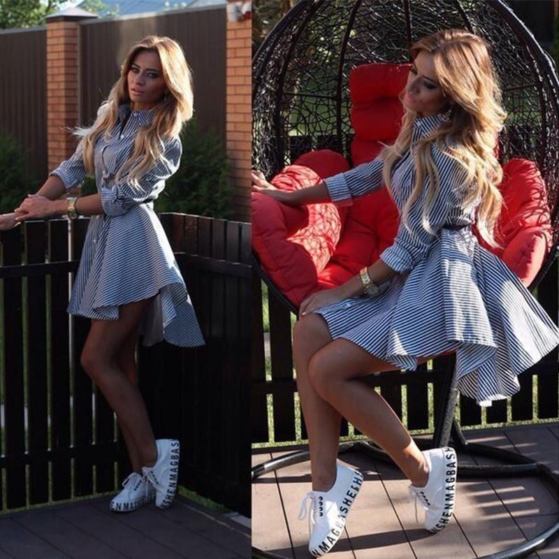 Dicloud Frühlings-Herbst-Hemd-Kleid-Frauen-Umlegekragen-volle Hülsen-beiläufige gestreifte Knopf-Gurt-Kleider Mini Vestidos S-xl 2019 SH190702