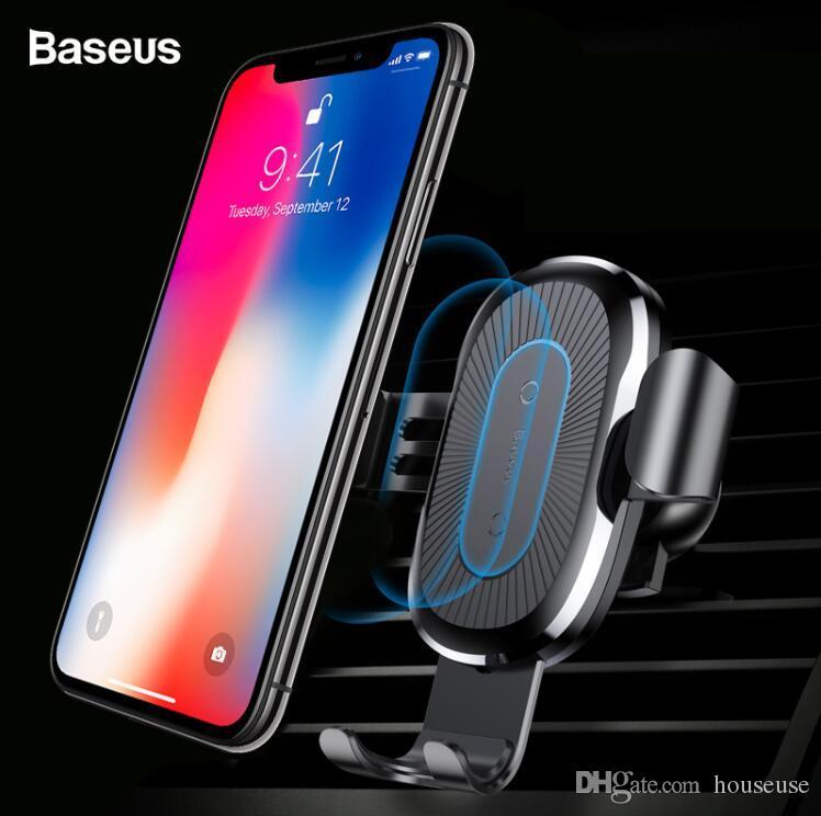 Baseus Car Qi Cargador inalámbrico para iPhone XS Max X 8 Cargador de coche inalámbrico USB de carga Wirless rápido para Samsung Xiaomi Mix 3 2S