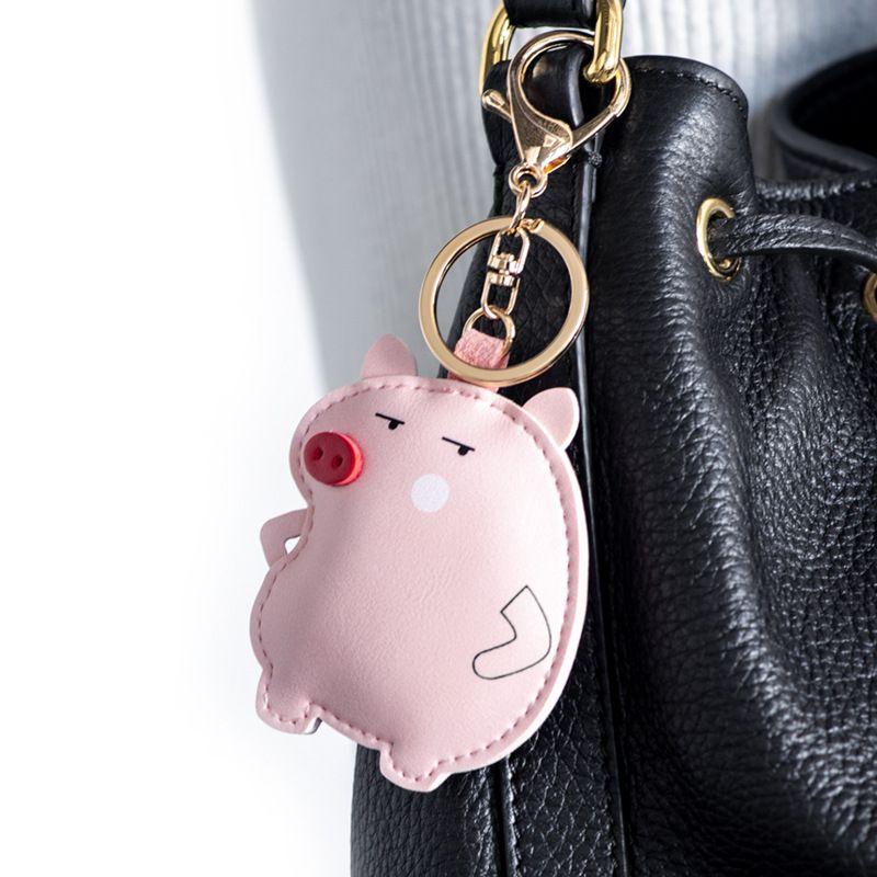 2020 New Cartoon Animal Fat Man PU Leather Car Keychain Bag Hanging Fun Personality Creative Gift Giveaway