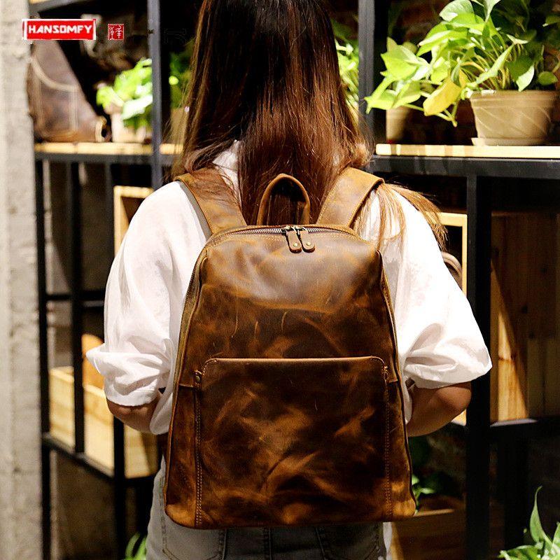"Genuine Leather 14"" Women Backpack Retro Laptop Bag Female Travel Crazy Horse Leather Schoolbag Shoulder Bags Small Backpacks"