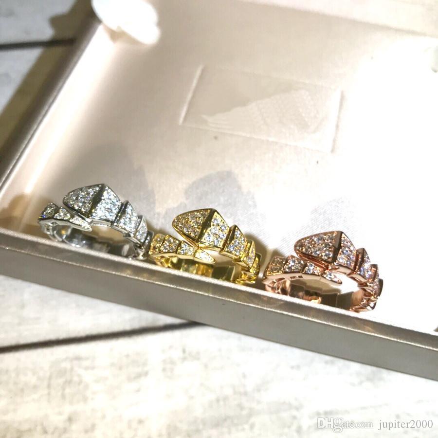 أوروبا أمريكا الساخن بيع الأزياء سيدة نساء براس إعداد 18K مطلية بالذهب كامل الماس الأفعى شكل خواتم المفتوحة الأفعى الهيكل العظمي خاتم الحرة الحجم