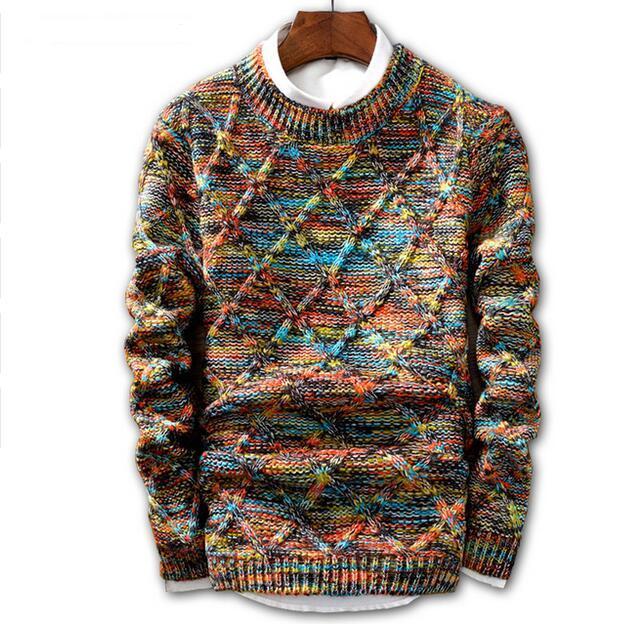 Hombres amantes de la moda 2018 Marca de moda Suéter suéter Masculino O-cuello de la raya Slim Fit Knitting Hombres Suéteres Hombre Pullover Hombres