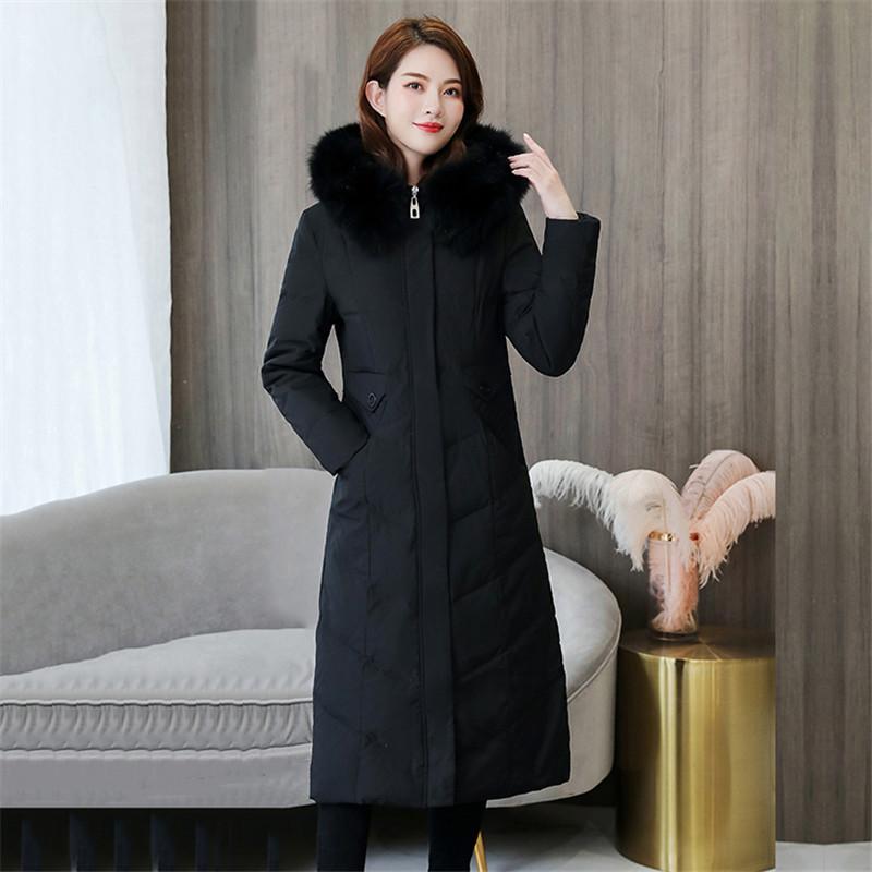 2019 mujeres de invierno por la chaqueta sobre la rodilla caliente espesan con capucha larga chaqueta de gran tamaño cuello de la piel de pato blanco abajo del sobretodo JIU121