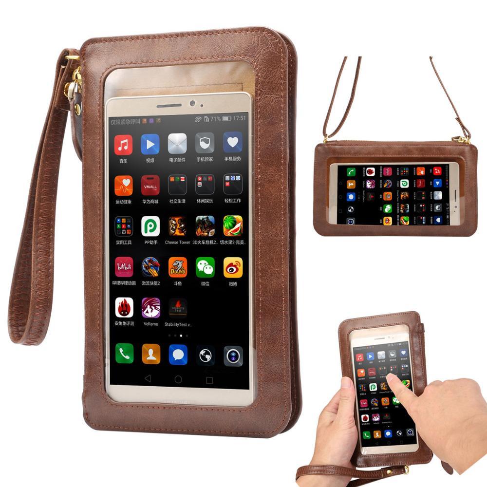 Nuovo schermo di tocco di caso di cuoio + piccolo di spalla di Crossbody Bag Pouch + raccoglitore per l'iPhone 5 5s SE 6 6s più 4 4s Cellulari Bag