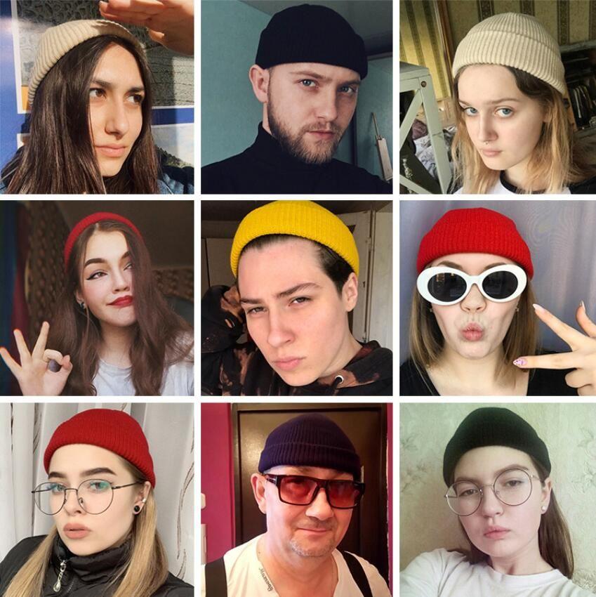 Gorros sombrero del invierno para los hombres hizo punto el sombrero sombreros de las mujeres de invierno para las mujeres de los hombres de punto de lana en blanco casquillos Casual Warm plana Bonnet Beanie 19 Colores