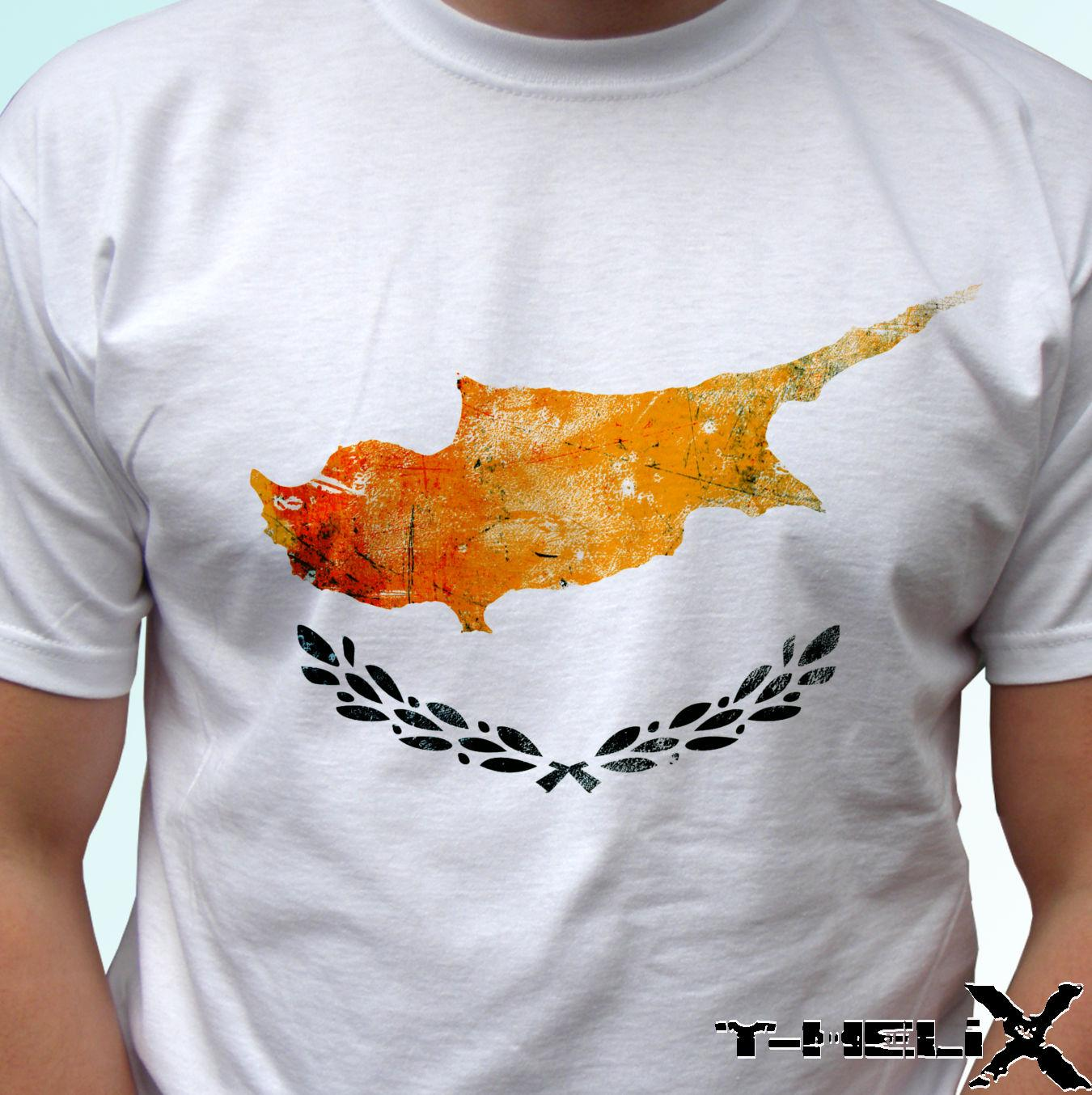 Drapeau de la Chypre - t-shirt blanc haut pays conception Style Style Tshirt Style Rond Tees Personnalisé Jersey