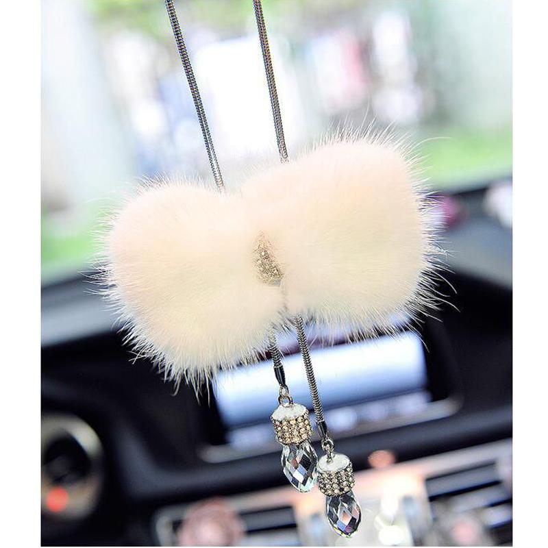 Car Pendant Elegant Artificial Mink hair Hanging Crystal Drop Fluffy Cute Auto Interior Decoration Car Mirror Hanging White