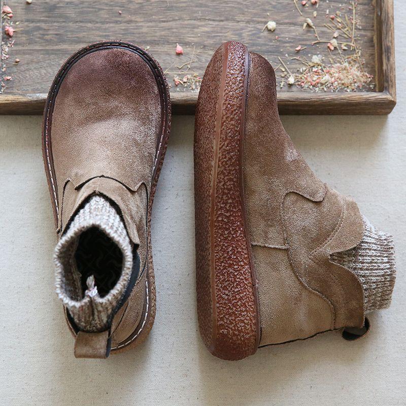 Новая чистая ручная работа сапоги, обувь из натуральной кожи, ретро искусство Мори девушки обувь, вскользь ретро короткие сапоги, 4 цвета Зима Держите теплые сапоги