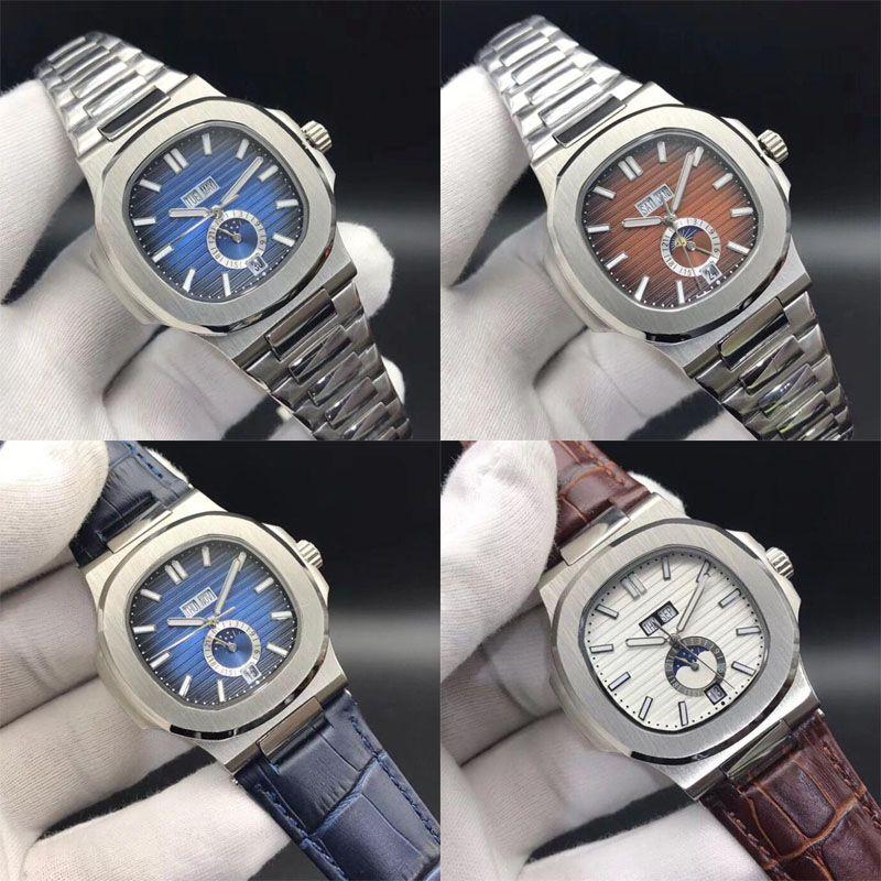 Часы высшего качества Nautilus 5726 / 1A-001 10 цветов Механические автоматические мужские часы Moon Phase Сапфир из нержавеющей стали Наручные часы 40,5 мм