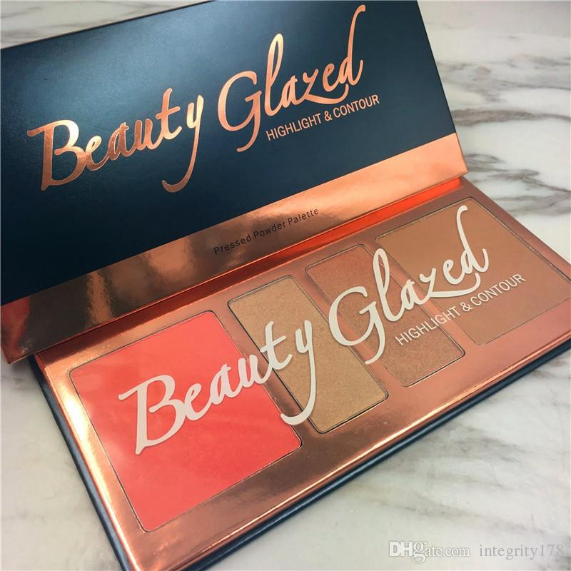 Beauty Glazed Brand Makeup Highlight contour press Powder Palette Shadow Cosmetics Matte Face Makeup Pressed Pale 4 colores en 1