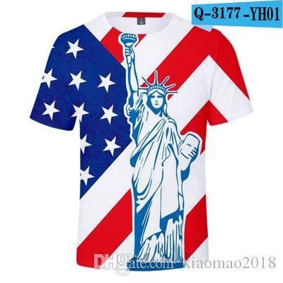 Yihan 2019 Мода лето Прохладного Eagle Hawk Printed T Рубашка Summer American Flag Tee Tops 3D T Shirt Thip хоп стиль вершина Unisex Мужской