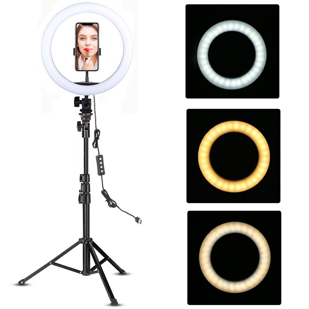 يوتيوب ماكياج فيديو حية للرماية LED خاتم ضوء مصباح 10 بوصة مع حامل الهاتف حامل ترايبود صورة شخصية Ringlight دائرة Tikok مصباح