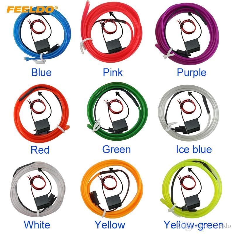 FEELDO 3M 9 색 유연한 몰딩 EL 네온 글로우 조명 로프 스트립과 자동차 장식 핀 # 3269