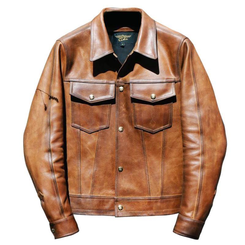 Type Classic copy 2020 men's III trucker vintage 507 calfskin slim fit genuine leather jacket men brown blue biker coat