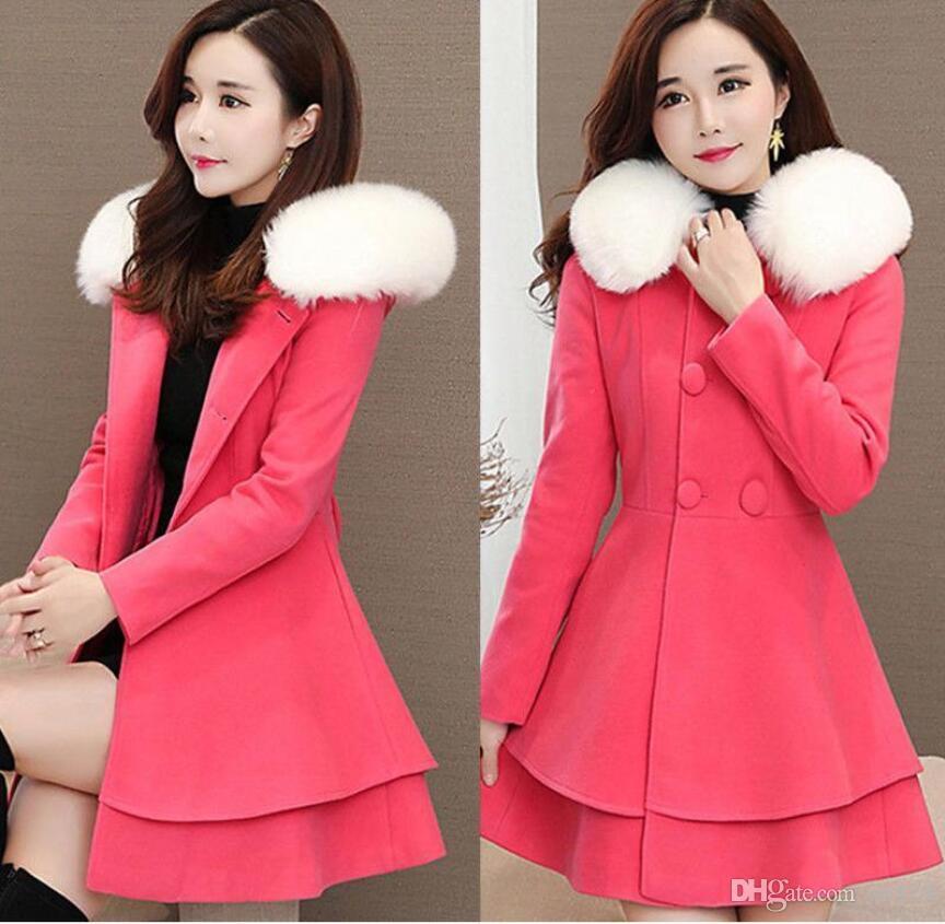 2018 Autumn Winter Women A-line wool Coat Double Breasted Slim Medium-Long Trench Coats Female Jackets Hooded jaqueta feminina