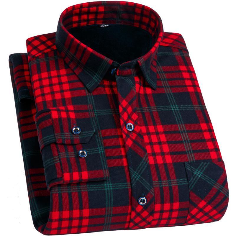 FillenGudd Plus Size 8XL Winter Mens Plaid Thermal Shirts Long Sleeve Warm Red and Black Printed Male Shirts Velvet 7XL 6XL 5XL V191108