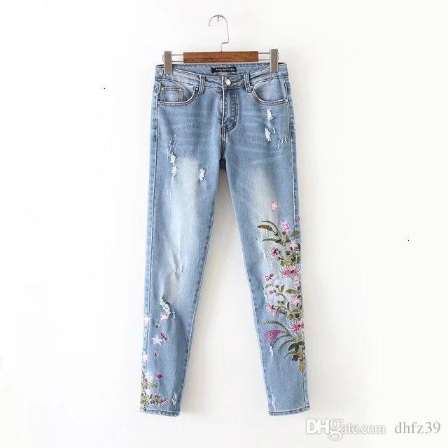 Pantaloni donna dei jeans delle donne di nuovo modo di Chen, 60 Europa America colorato modo del vento, crisantemo ricamati jeans 0606 di buona qualità