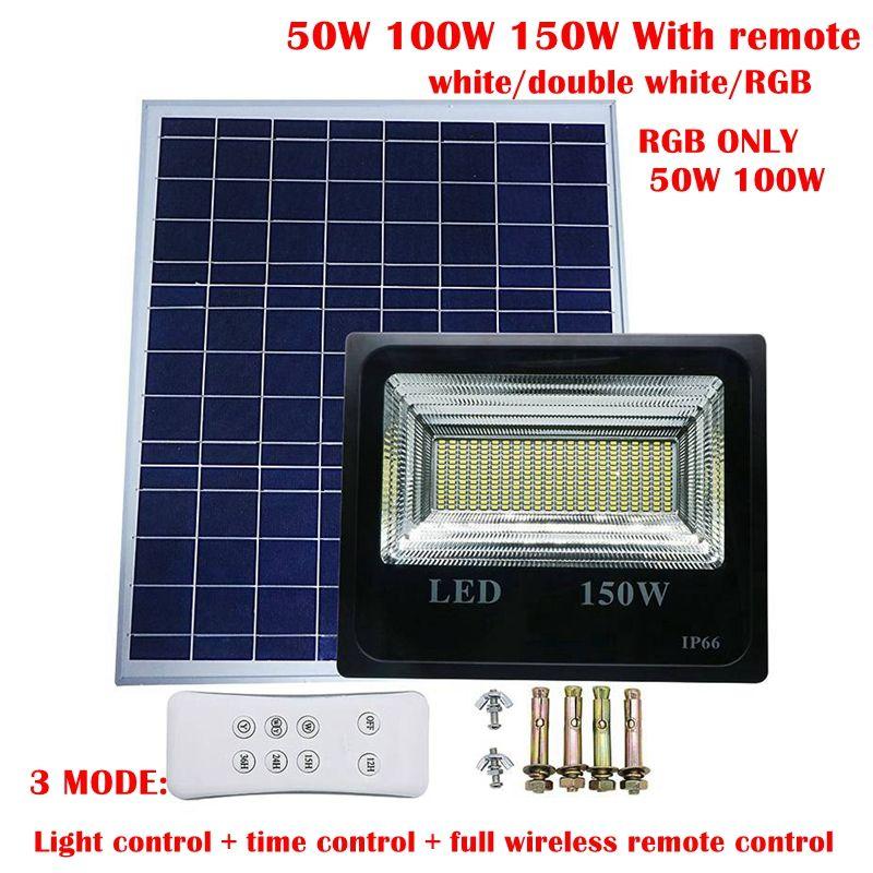 Umlight1688 100 Watt 150 Watt Doppel RGB Farbe Solar Licht Solar Power LED Flutlicht Gartenweg Straßenstrahler Wasserdichte Lampe + Fernbedienung