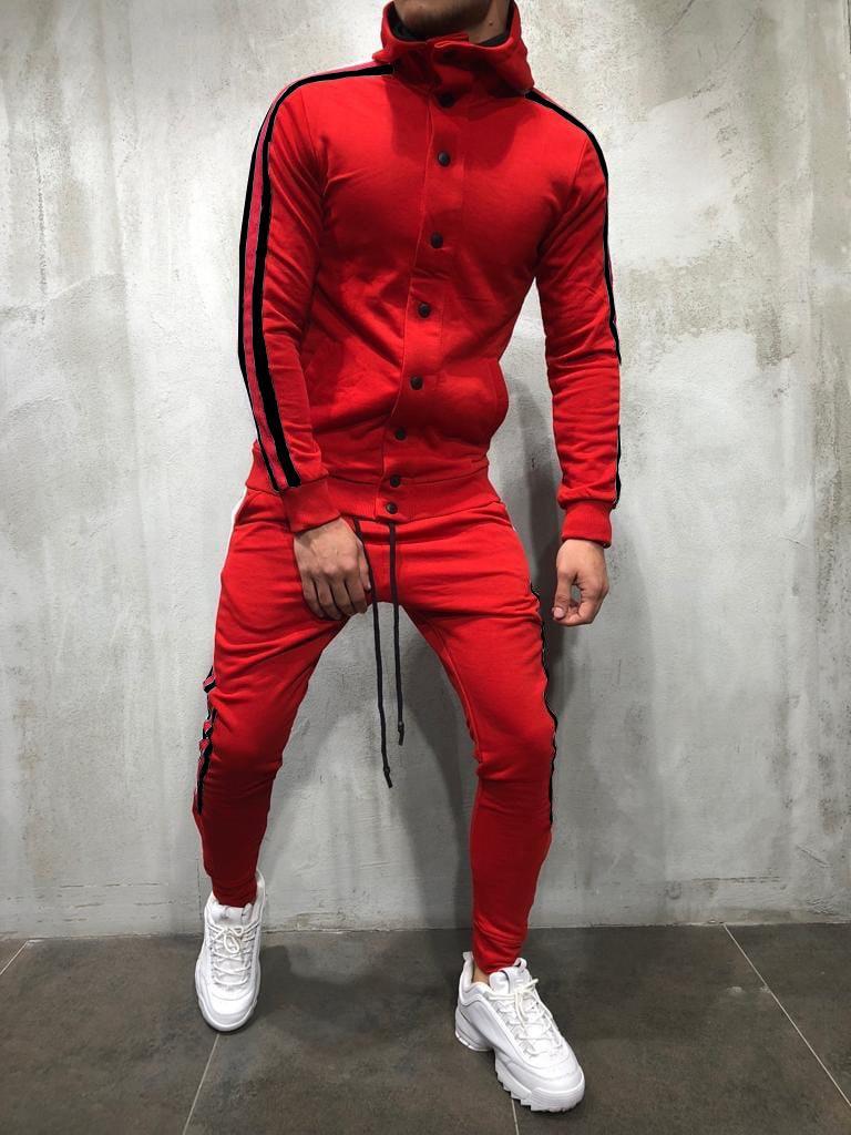 Hiphop Erkek Eşofman Yüksek Kaliteli Tasarımcı Çizgili Pantolon Hoodies Düğmeler Tasarım 2 adet Giyim Setleri Moda Kıyafetler Suits