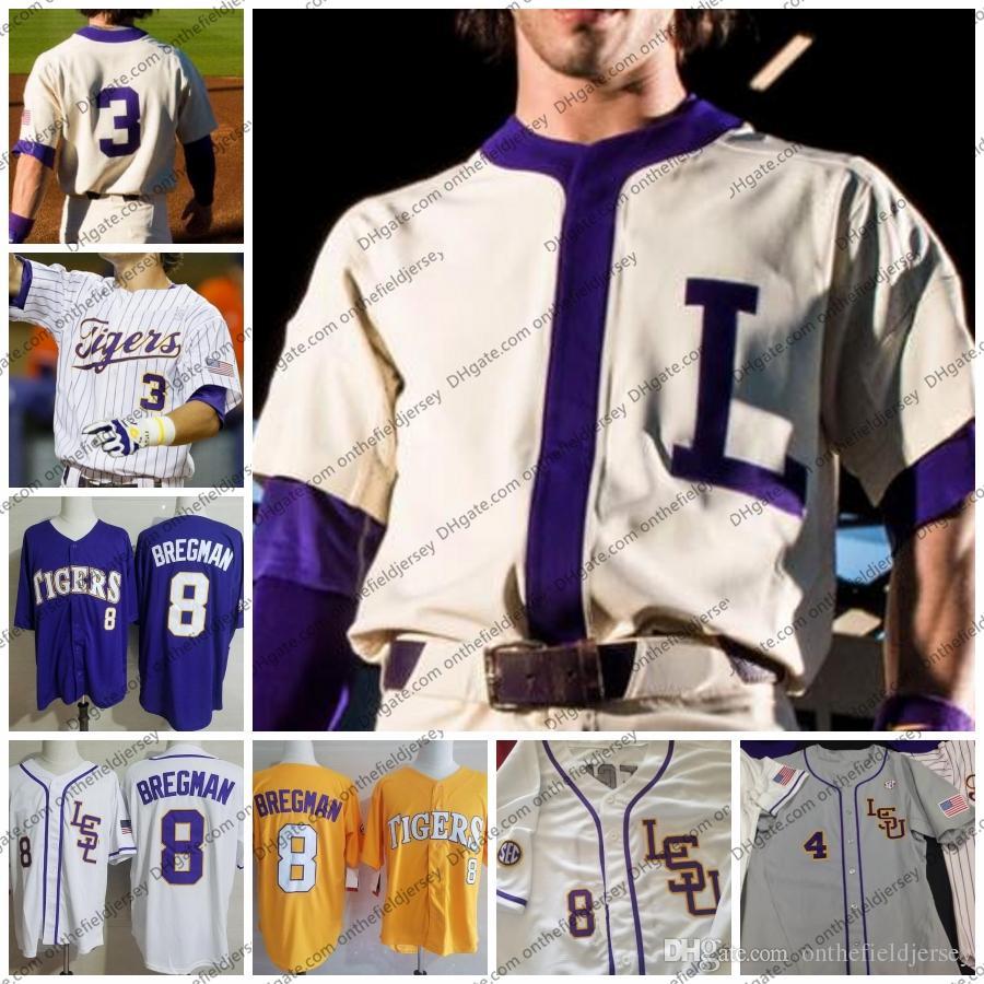 Custom 2019 LSU Tigers College Maillot de Baseball N'importe quel Nom Numéro 8 Alex Bregman 10 Aaron Nola 2 Daniel Cabrera 13 Saul Garza S-4XL