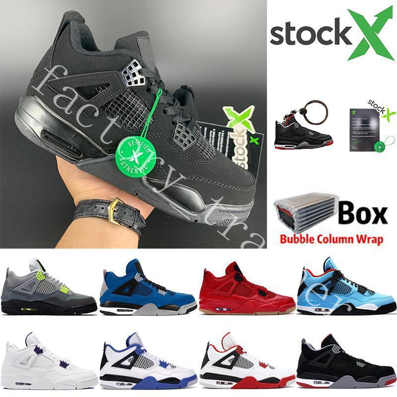 2020 Bred Black Cat 4 4S tênis de basquete Homens Branco Cimento Encore Asas Fire Red Singles Designer Sneakers IV Pure Dinheiro Homens Trainers 7-13