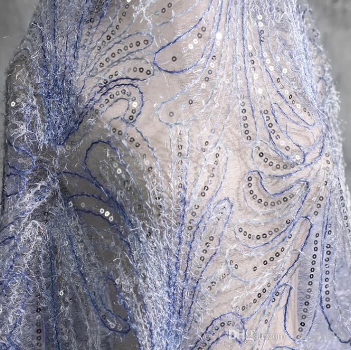Transparent Embroidered Hollow Feather Diamond Mesh Sequin Sparkle Lace fabric dress wedding gauze textiles tweed diy mannequin fabric A469