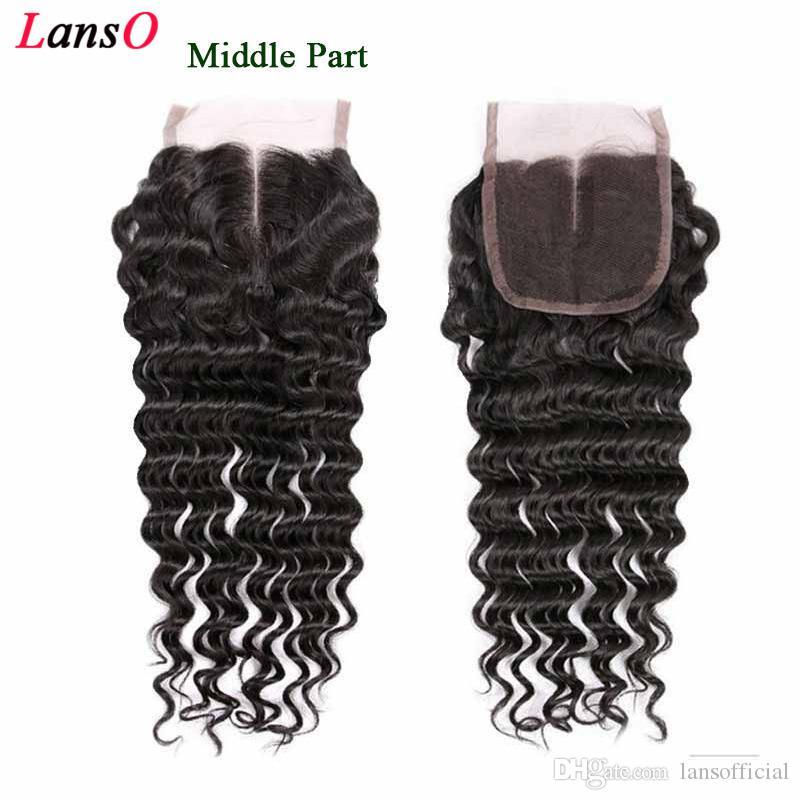 9A الهندي عذراء الشعر موجة عميقة الأعلى الرباط اختتام الأسود الطبيعي 100٪ غير المجهزة المياه فضفاض موجة عميقة الإنسان الشعر ملحقات مجانية الأوسط الجزء