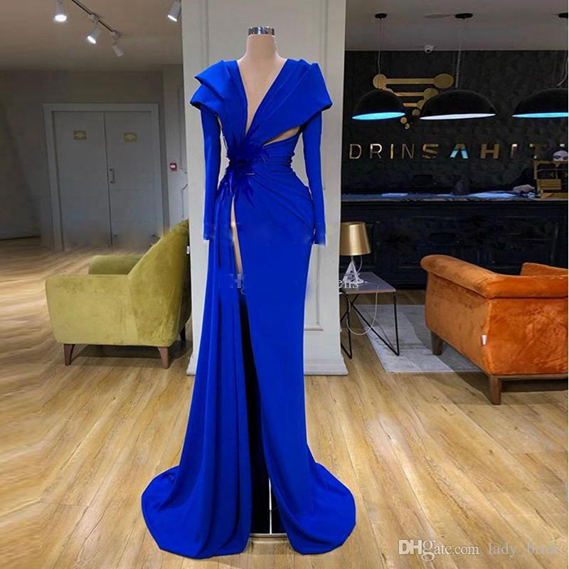 Blue High Side Split Evening Dresses V Neck Long Sleeve Ruched Satin Feather Prom Gowns Evening Gowns