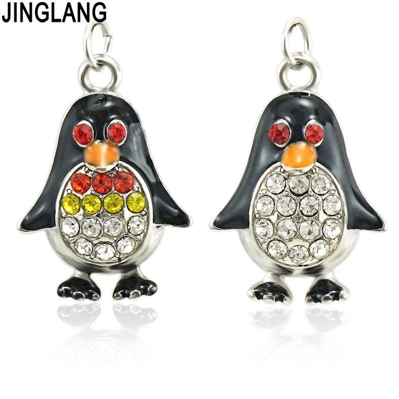 JINGLANG Tiny Pinguin Charme für Schmuckherstellung und Handwerk Mode-Charme-Zink-Legierung Emaille Pinguin 30pcs
