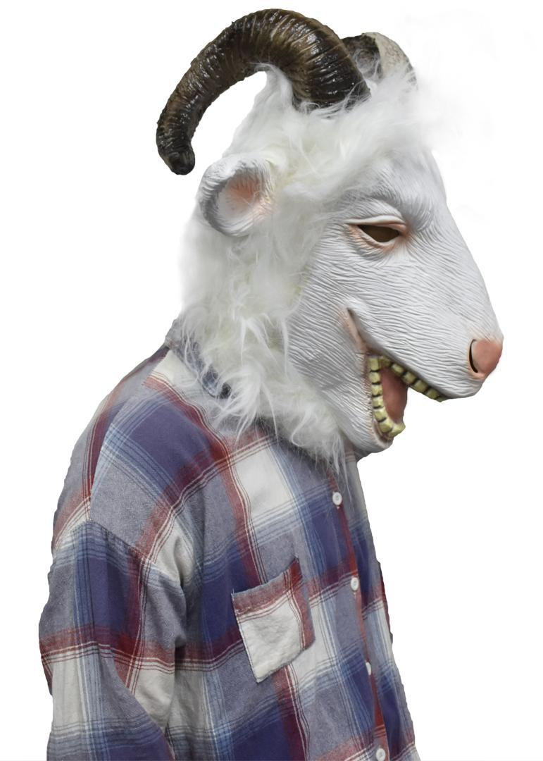 Latex Goat Mask With Horns Ram Animal Head Adult Halloween Costume Face Disguise