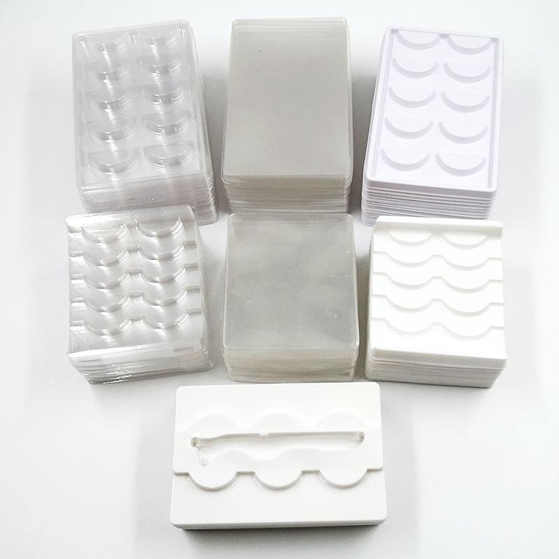1/3/5 çifti kirpik ambalaj kutusu kare durum için toptan 50 / pack şeffaf kirpik tepsileri plastik vizon kirpiklere tutucu kirpik tepsisi