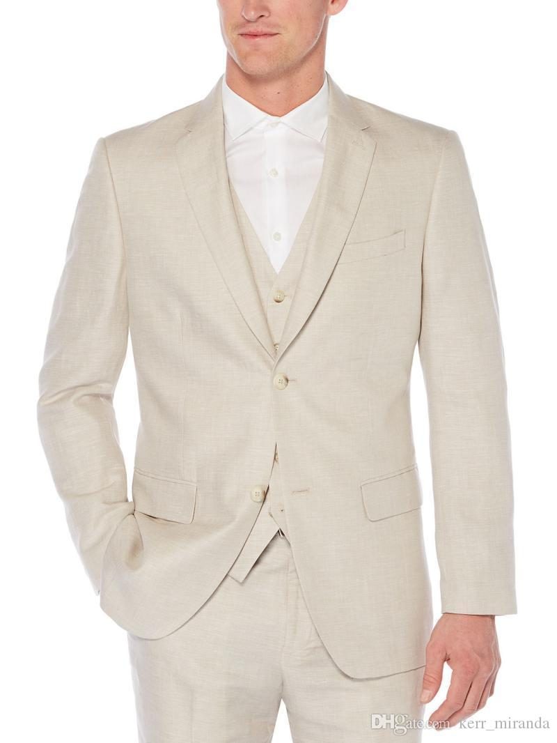 Brand New Beige Classic Style Two Button Groom Tuxedos Notch Lapel Groomsmen Best Mens Wedding Suits (Jacket+Pants+Vest)