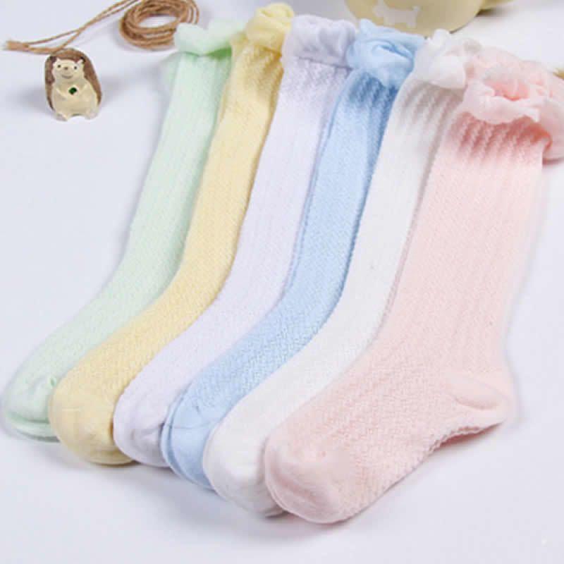 Baby Girls Knee High Socks For Children Princess Leg Warmers Cute Solid Girl Long Tube Kids Socks Thin Esh Socks Full Boneless